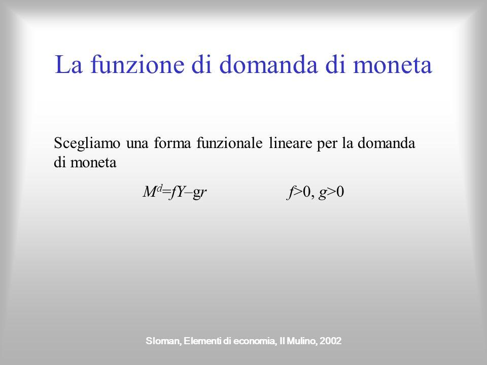 Sloman, Elementi di economia, Il Mulino, 2002 La funzione di domanda di moneta Scegliamo una forma funzionale lineare per la domanda di moneta M d =fY