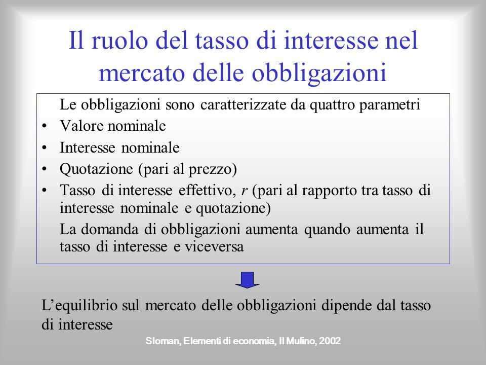 Sloman, Elementi di economia, Il Mulino, 2002 Il ruolo del tasso di interesse nel mercato delle obbligazioni Le obbligazioni sono caratterizzate da qu
