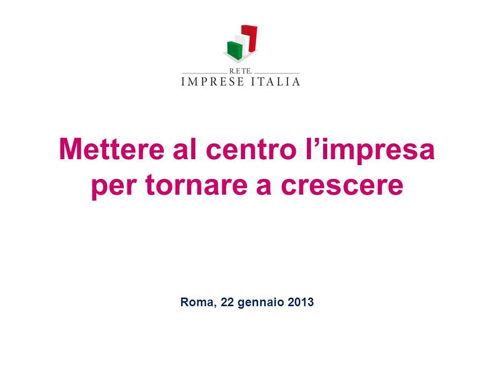 Mettere al centro limpresa per tornare a crescere Roma, 22 gennaio 2013