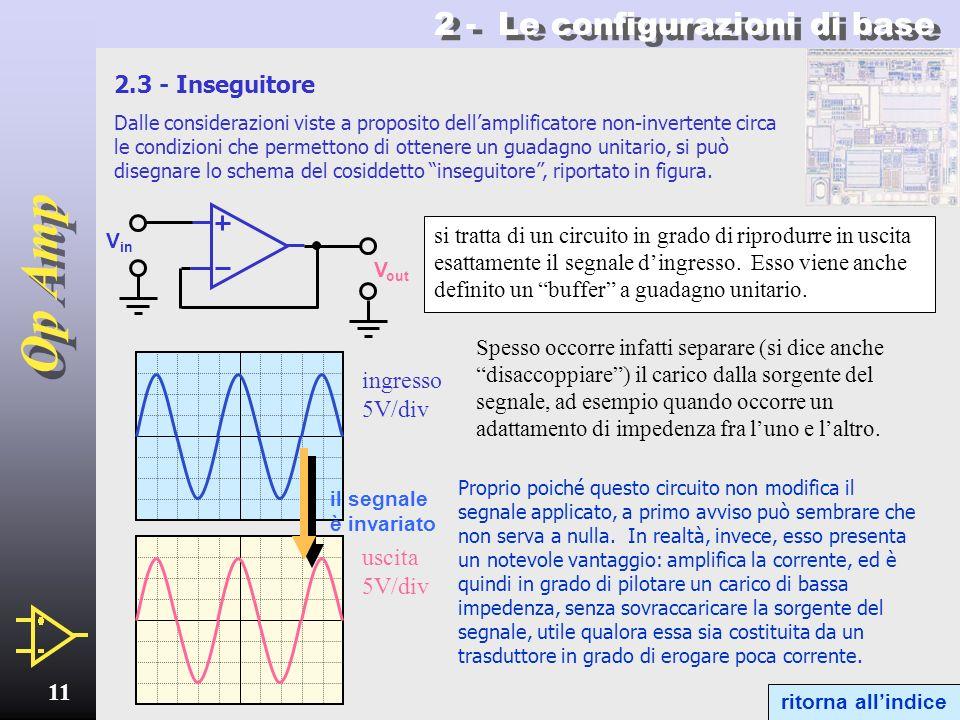 Op Amp 10 2 - Le configurazioni di base Amplificatore non-invertente - 2 ritorna allindice VOVO Z2Z2 Z1Z1 V IN I 1 = I 2 Si noti che - in base alla fo