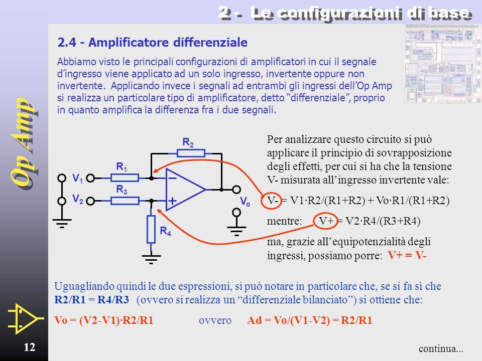Op Amp 11 2.3 - Inseguitore Dalle considerazioni viste a proposito dellamplificatore non-invertente circa le condizioni che permettono di ottenere un