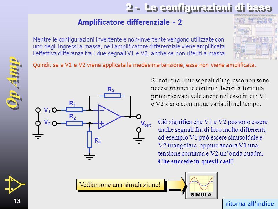 Op Amp 12 2.4 - Amplificatore differenziale Abbiamo visto le principali configurazioni di amplificatori in cui il segnale dingresso viene applicato ad