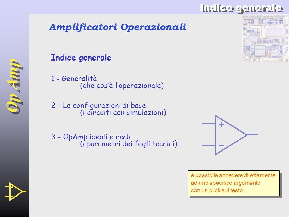 Op Amp 2 Amplificatori Operazionali Op Amp Indice generale 3 - OpAmp ideali e reali (i parametri dei fogli tecnici) 1 - Generalità (che cosè loperazionale) 2 - Le configurazioni di base (i circuiti con simulazioni) è possibile accedere direttamente ad uno specifico argomento con un click sul testo