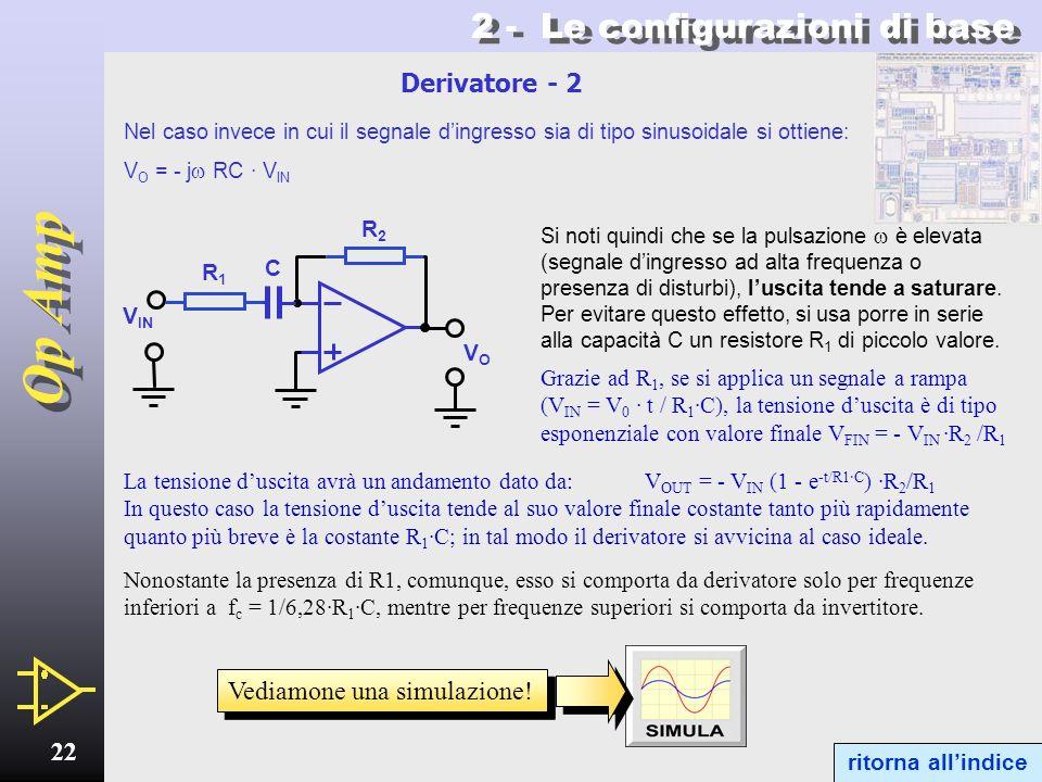 Op Amp 21 2 - Le configurazioni di base 2.7 - Derivatore Se il segnale viene applicato tramite un condensatore il circuito viene denominato derivatore