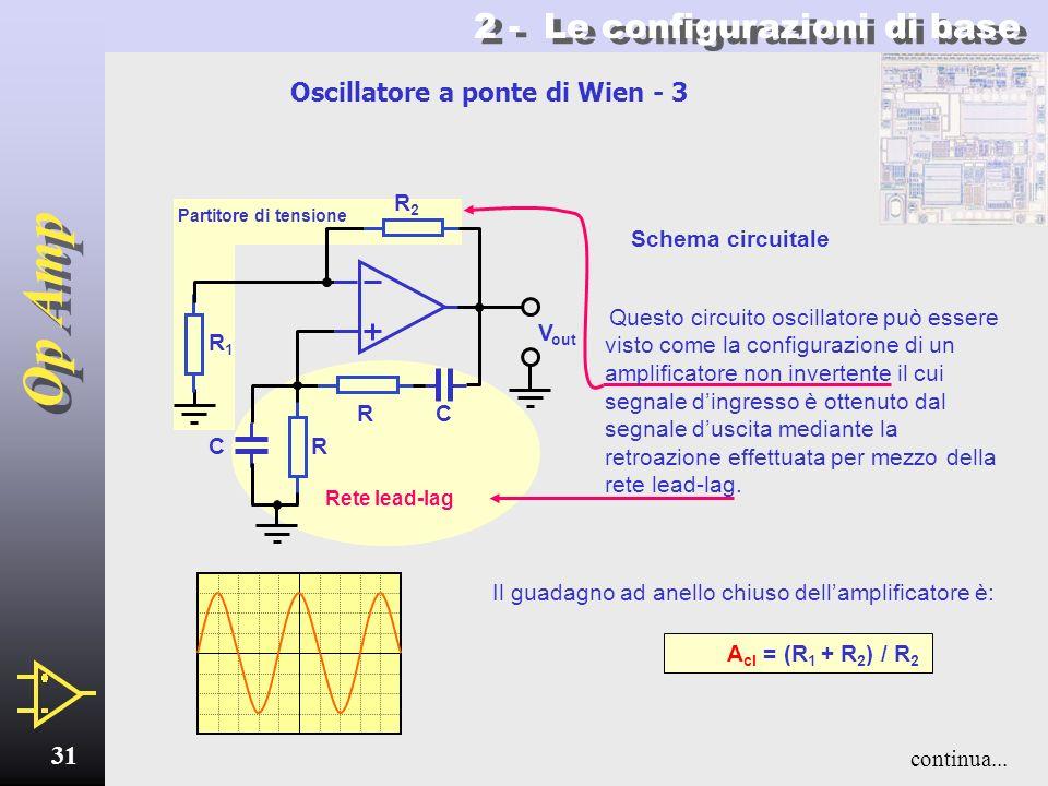 Op Amp 30 2 - Le configurazioni di base Oscillatore a ponte di Wien - 2 La risposta complessiva della rete è illustrata in figura (fig.2) dove: fr = 1
