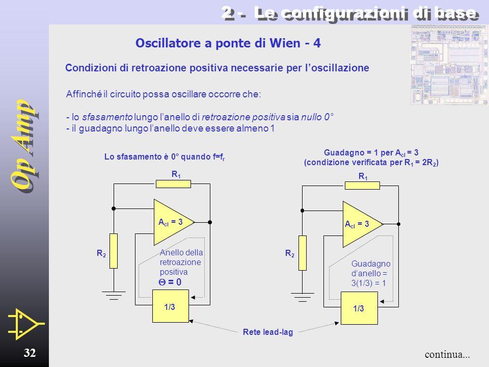 Op Amp 31 Rete lead-lag Partitore di tensione 2 - Le configurazioni di base Oscillatore a ponte di Wien - 3 V out R2R2 R1R1 R R C C Questo circuito os