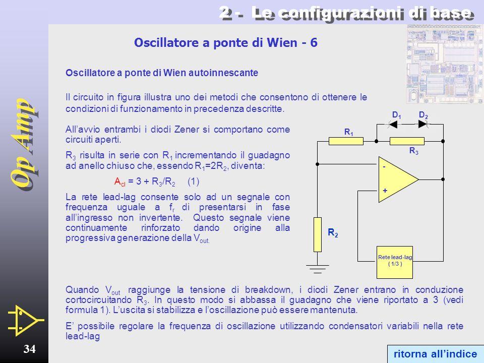 Op Amp 33 2 - Le configurazioni di base Oscillatore a ponte di Wien - 5 A cl = 3 1/3 Guadagno danello = 1 1/3 R1R1 A cl = 3 1/3 Guadagno danello > 1 1