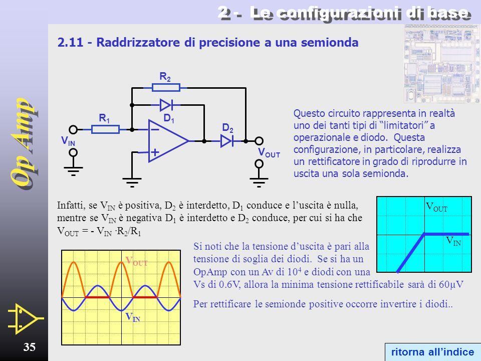 Op Amp 34 2 - Le configurazioni di base Oscillatore a ponte di Wien - 6 Oscillatore a ponte di Wien autoinnescante Allavvio entrambi i diodi Zener si