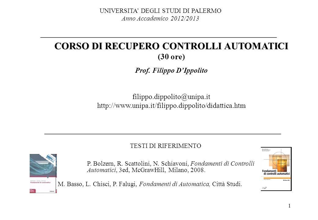 1 UNIVERSITA DEGLI STUDI DI PALERMO Anno Accademico 2012/2013 CORSO DI RECUPERO CONTROLLI AUTOMATICI (30 ore) Prof. Filippo DIppolito filippo.dippolit