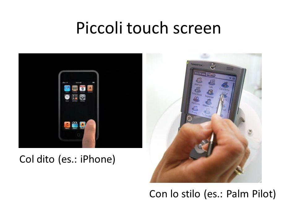 Piccoli touch screen Col dito (es.: iPhone) Con lo stilo (es.: Palm Pilot)