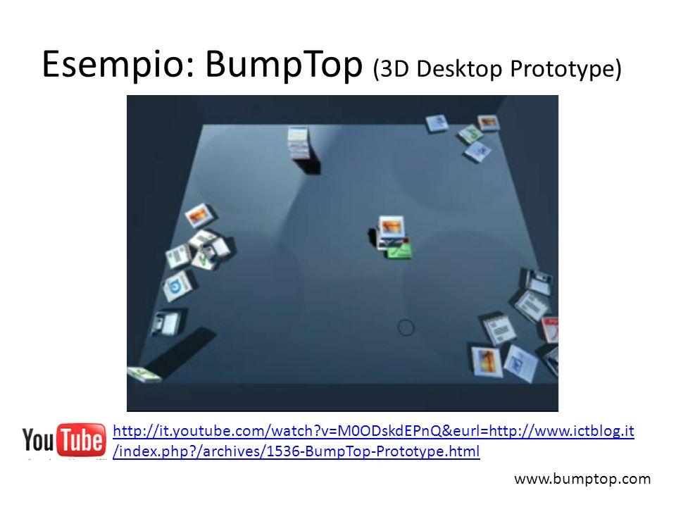 Esempio: BumpTop (3D Desktop Prototype) www.bumptop.com http://it.youtube.com/watch?v=M0ODskdEPnQ&eurl=http://www.ictblog.it /index.php?/archives/1536