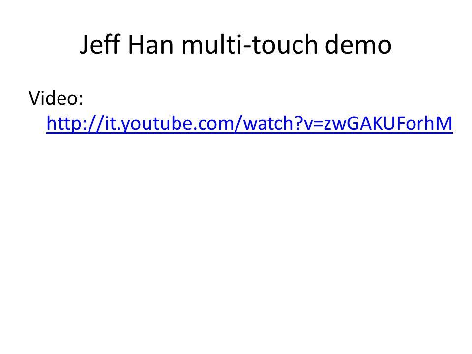 Jeff Han multi-touch demo Video: http://it.youtube.com/watch?v=zwGAKUForhM http://it.youtube.com/watch?v=zwGAKUForhM