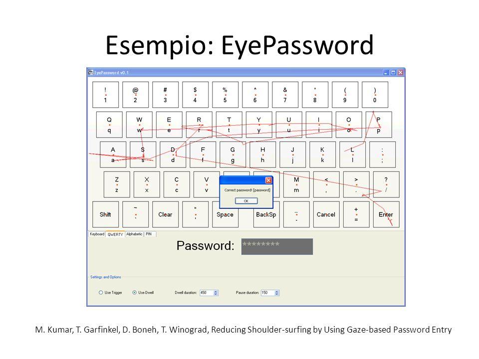 Esempio: EyePassword M. Kumar, T. Garfinkel, D. Boneh, T. Winograd, Reducing Shoulder-surfing by Using Gaze-based Password Entry