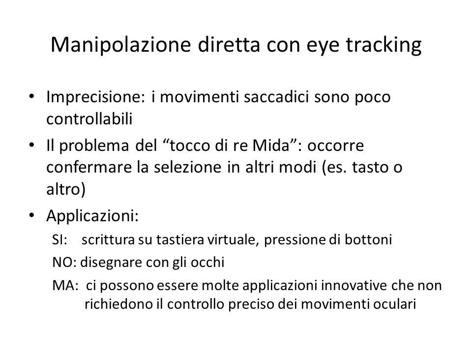 Manipolazione diretta con eye tracking Imprecisione: i movimenti saccadici sono poco controllabili Il problema del tocco di re Mida: occorre confermar