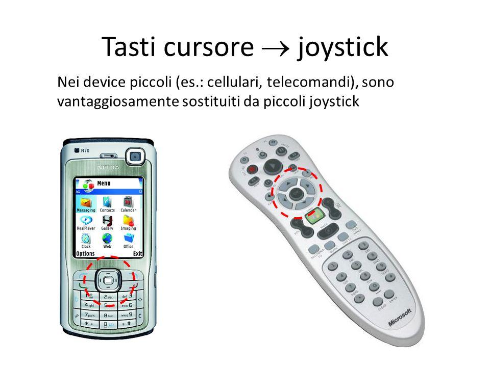 Tasti cursore joystick Nei device piccoli (es.: cellulari, telecomandi), sono vantaggiosamente sostituiti da piccoli joystick