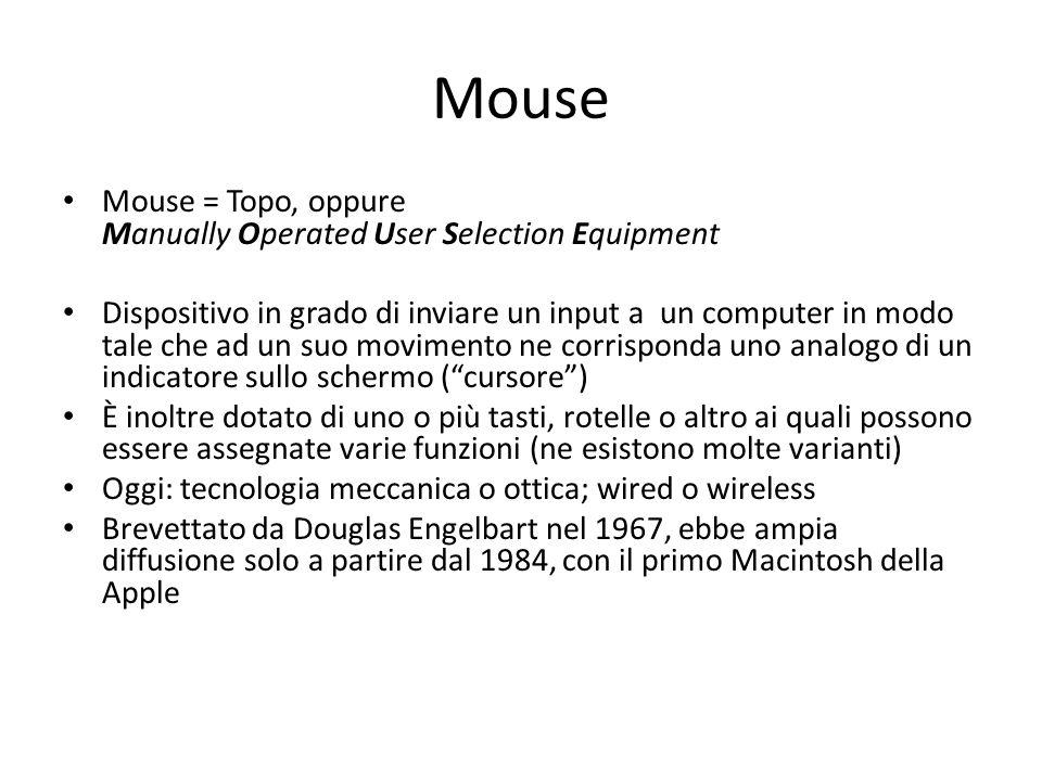 Mouse Mouse = Topo, oppure Manually Operated User Selection Equipment Dispositivo in grado di inviare un input a un computer in modo tale che ad un su