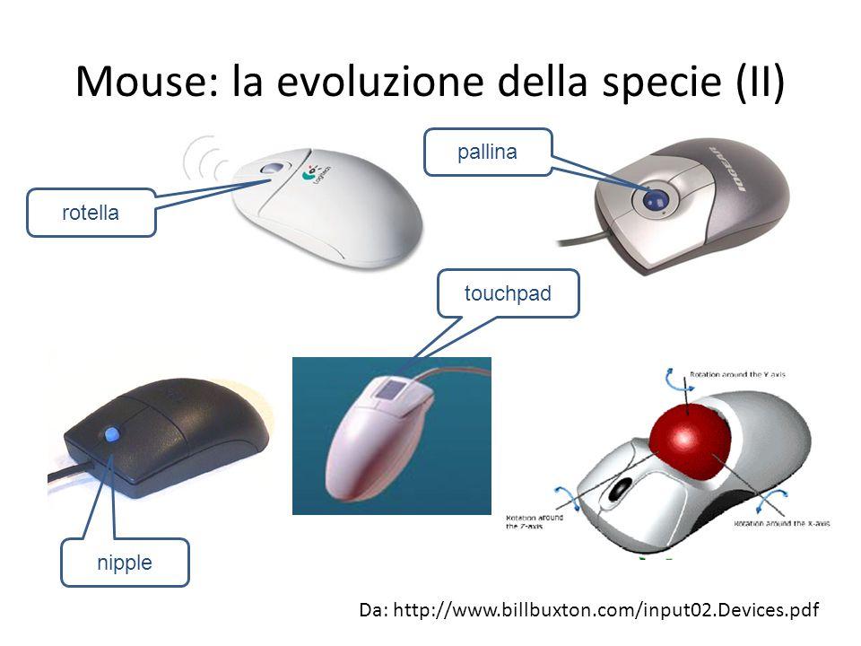 Mouse: la evoluzione della specie (II) Da: http://www.billbuxton.com/input02.Devices.pdf rotella pallina nipple touchpad
