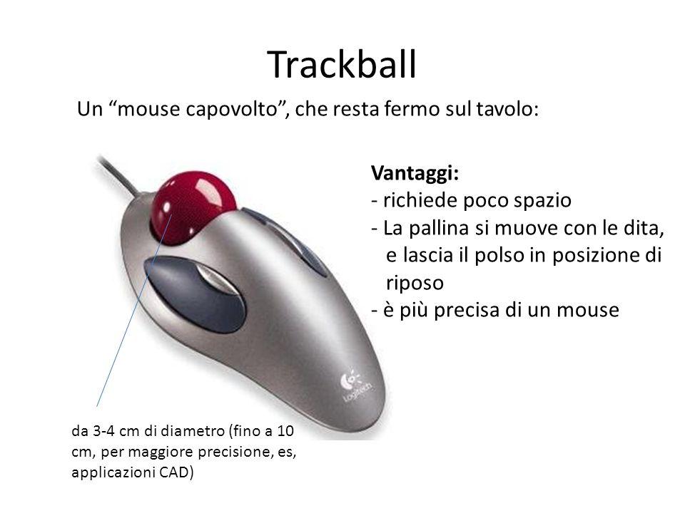 Trackball Un mouse capovolto, che resta fermo sul tavolo: Vantaggi: - richiede poco spazio - La pallina si muove con le dita, e lascia il polso in pos