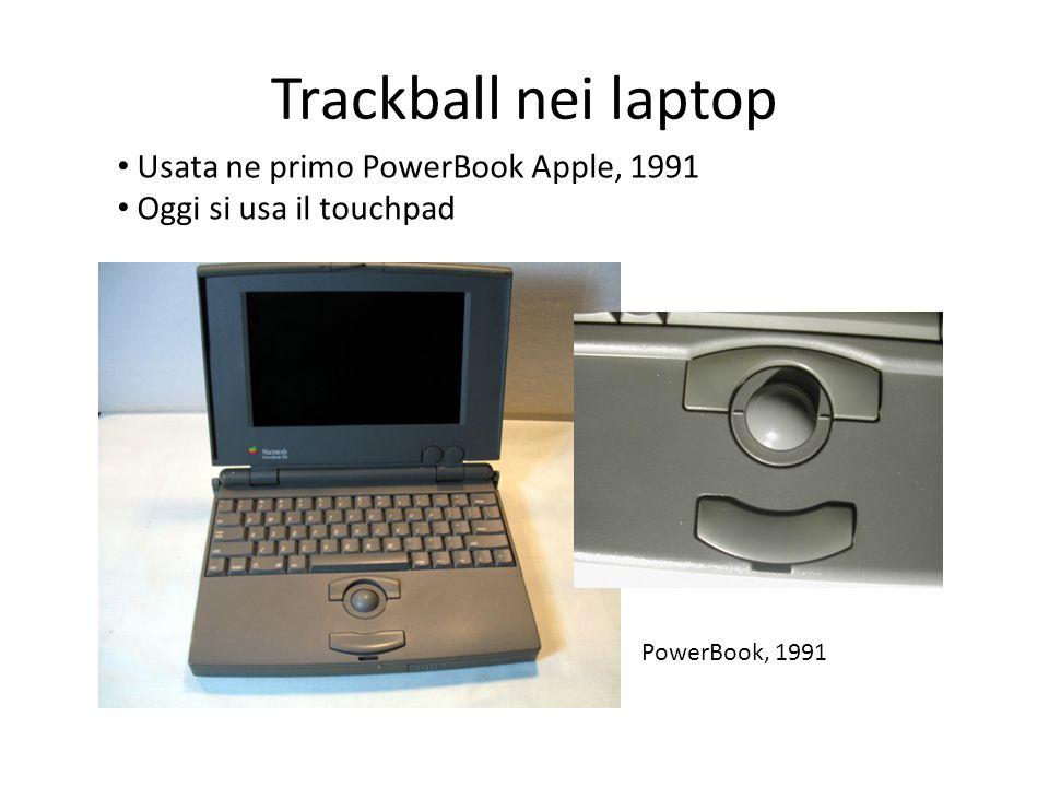 Trackball nei laptop Usata ne primo PowerBook Apple, 1991 Oggi si usa il touchpad PowerBook, 1991