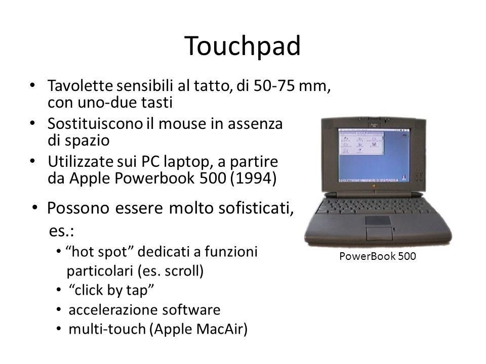 Touchpad Tavolette sensibili al tatto, di 50-75 mm, con uno-due tasti Sostituiscono il mouse in assenza di spazio Utilizzate sui PC laptop, a partire