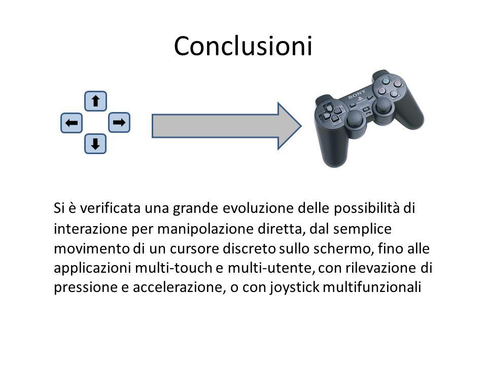 Conclusioni Si è verificata una grande evoluzione delle possibilità di interazione per manipolazione diretta, dal semplice movimento di un cursore dis