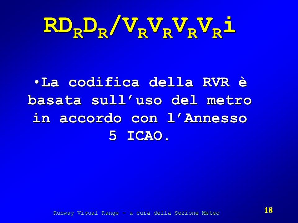 Runway Visual Range - a cura della Sezione Meteo 18 RD R D R /V R V R V R V R i La codifica della RVR è basata sulluso del metro in accordo con lAnnes