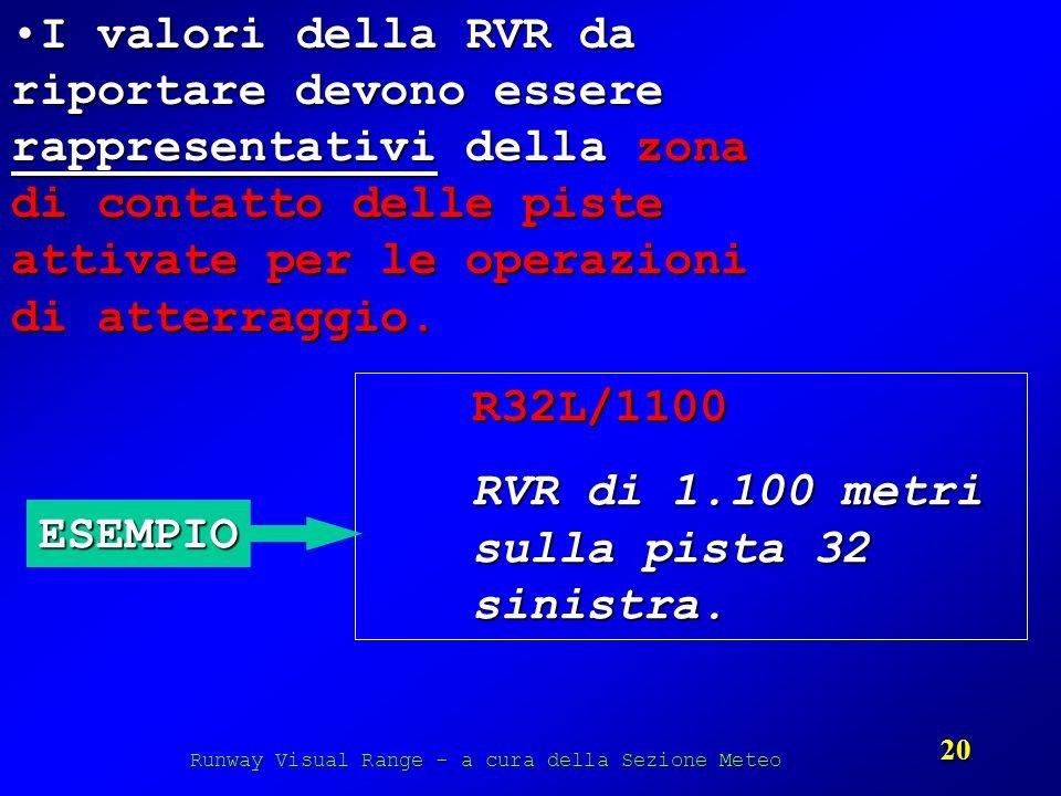 Runway Visual Range - a cura della Sezione Meteo 20 I valori della RVR da riportare devono essere rappresentativi della zona di contatto delle piste a