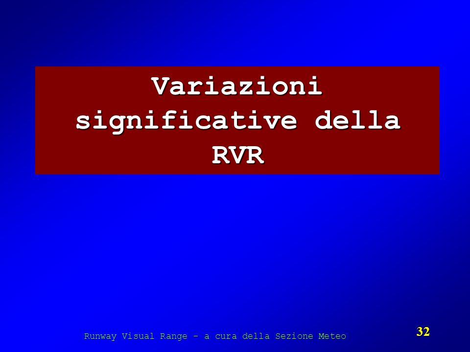 Runway Visual Range - a cura della Sezione Meteo 32 Variazioni significative della RVR