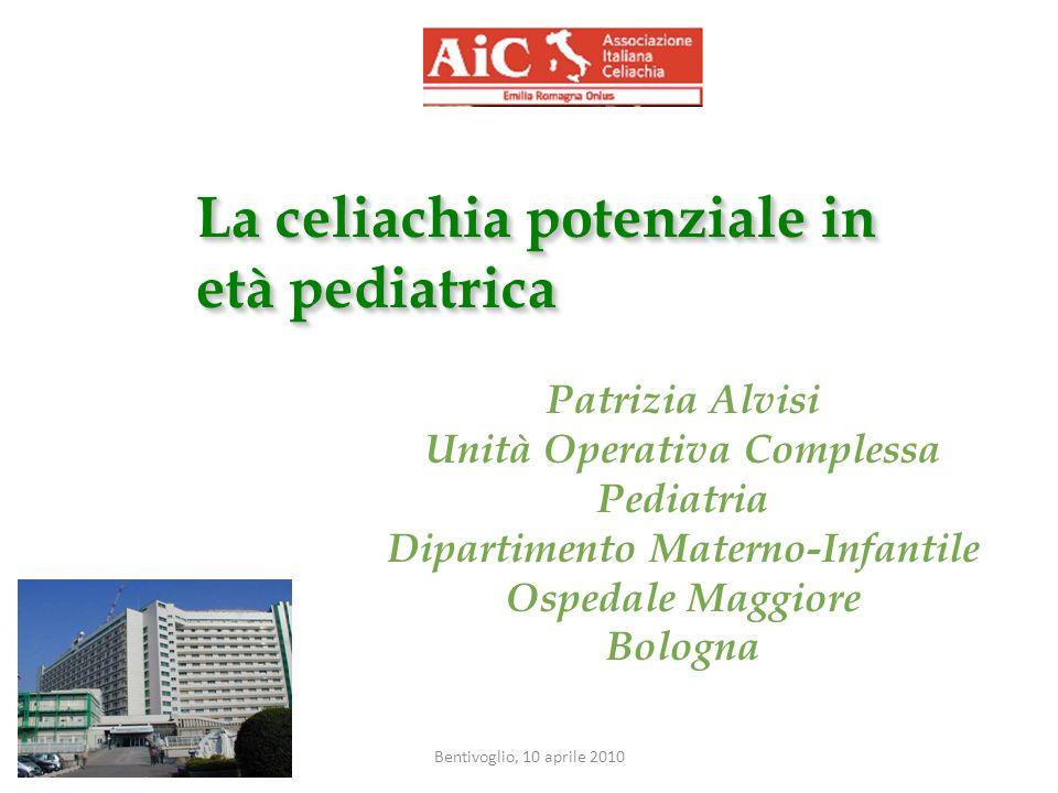 Bentivoglio, 10 aprile 2010 Anticorpi antigliadina (AGA IgA, IgG) __________________________________________ Anticorpi diretti contro la gliadina Hanno perso valore rispetto ai nuovi test per bassa specificità (IgG 50% -IgA 6-10% falsi positivi!) IgG: screening nei bambini con deficit IgA Nei pazienti < 2 anni AGA IgA alta sensibilità diagnostica, migliore di EmA e tTG