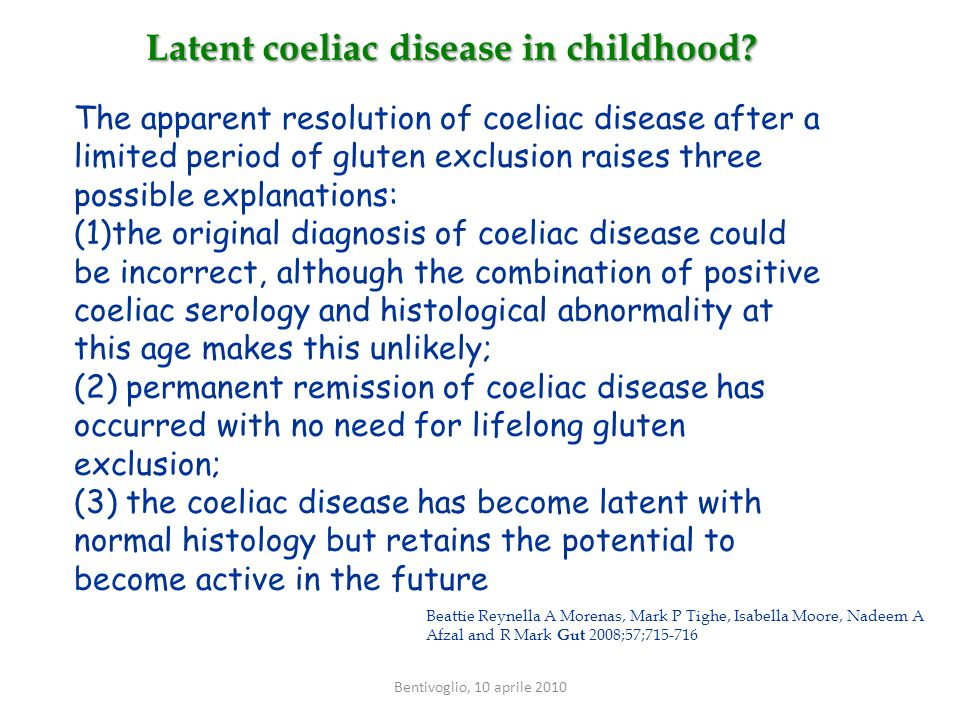Latent coeliac disease in childhood? The apparent resolution of coeliac disease after a limited period of gluten exclusion raises three possible expla