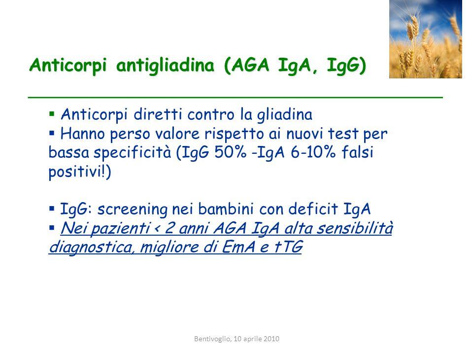 Bentivoglio, 10 aprile 2010 Anticorpi antigliadina (AGA IgA, IgG) __________________________________________ Anticorpi diretti contro la gliadina Hann