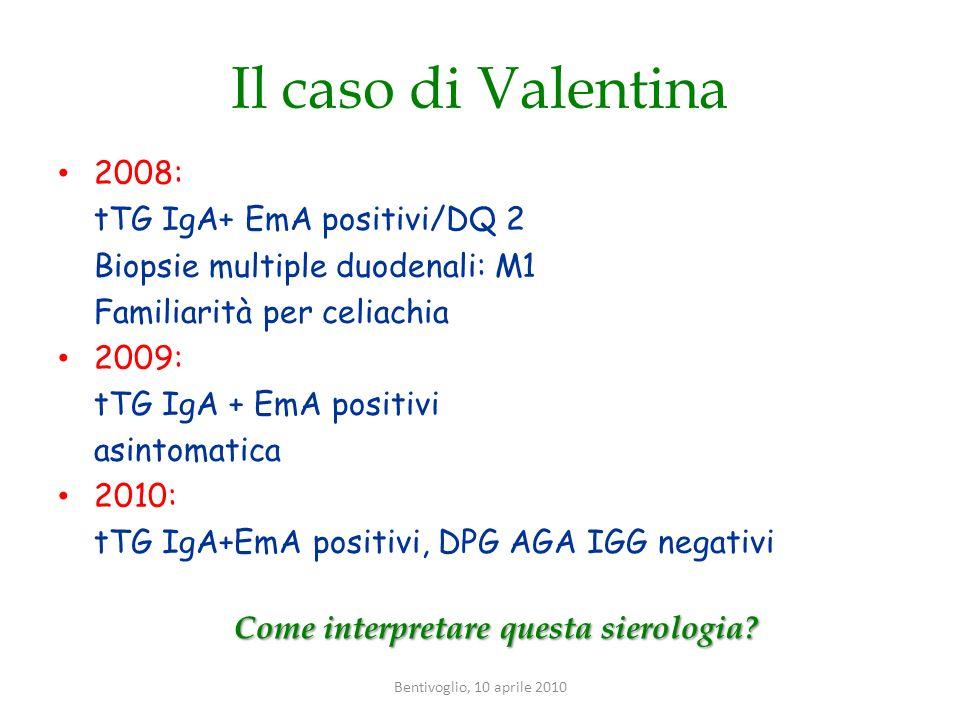 Il caso di Valentina 2008: tTG IgA+ EmA positivi/DQ 2 Biopsie multiple duodenali: M1 Familiarità per celiachia 2009: tTG IgA + EmA positivi asintomati