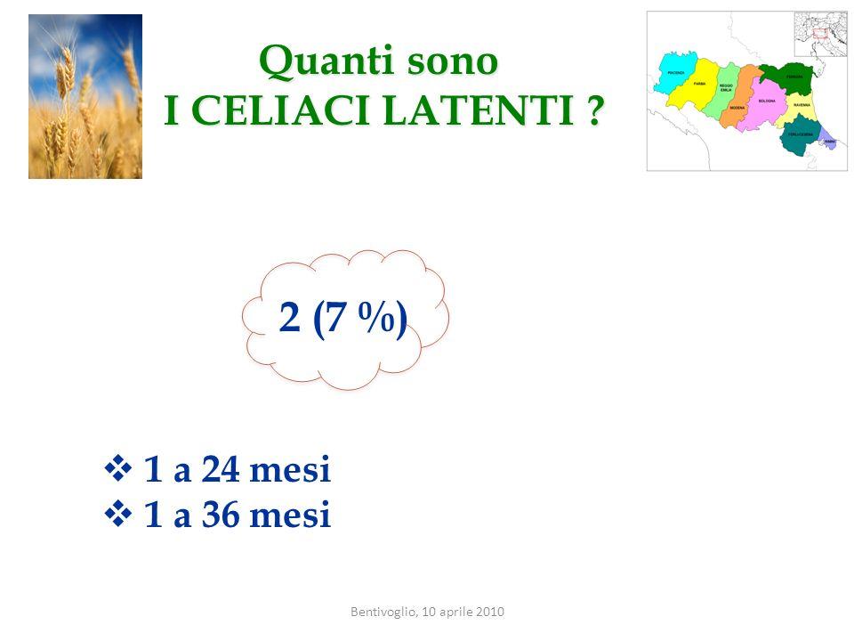 Bentivoglio, 10 aprile 2010 Quanti sono I CELIACI LATENTI ? 2 (7 %) 1 a 24 mesi 1 a 36 mesi