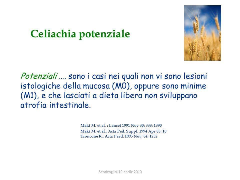 La malattia celiaca si definisce latente in presenza di test sierologici specifici positivi, un genotipo HLA predisponente con mucosa intestinale normale o con minime alterazioni dellarchitettura (Mo-M1 secondo la classificazione di Marsh Oberhuber).
