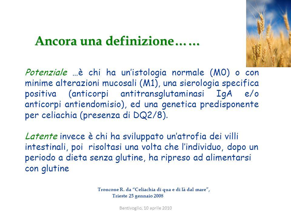 Ancora una definizione…… Potenziale …è chi ha unistologia normale (M0) o con minime alterazioni mucosali (M1), una sierologia specifica positiva (anti