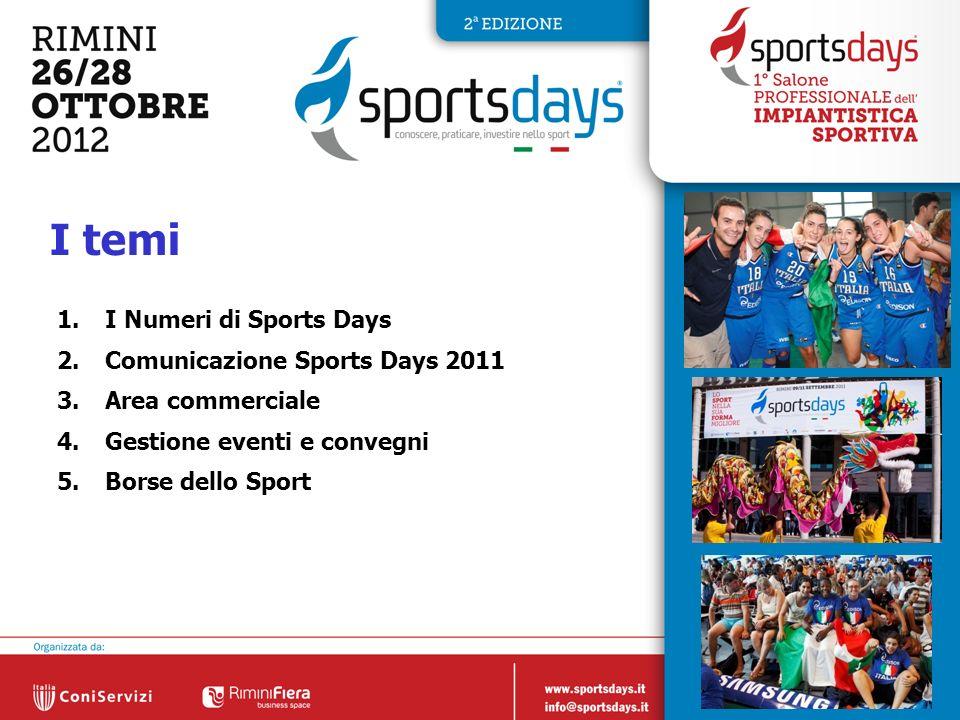 2 I temi 1.I Numeri di Sports Days 2.Comunicazione Sports Days 2011 3.Area commerciale 4.Gestione eventi e convegni 5.Borse dello Sport