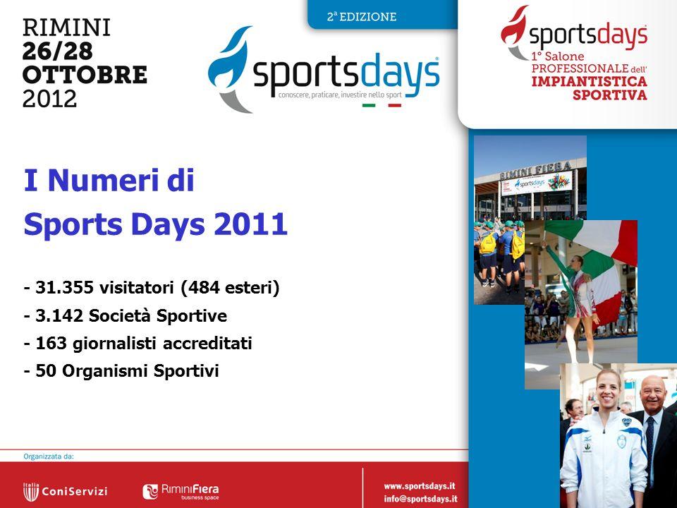 3 I Numeri di Sports Days 2011 - 31.355 visitatori (484 esteri) - 3.142 Società Sportive - 163 giornalisti accreditati - 50 Organismi Sportivi