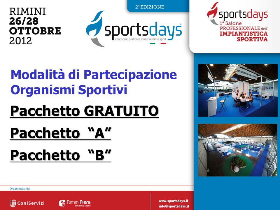 6 Modalità di Partecipazione Organismi Sportivi Pacchetto GRATUITO Pacchetto A Pacchetto B