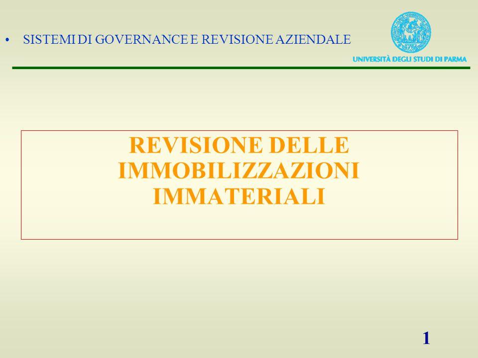 SISTEMI DI GOVERNANCE E REVISIONE AZIENDALE 1 REVISIONE DELLE IMMOBILIZZAZIONI IMMATERIALI