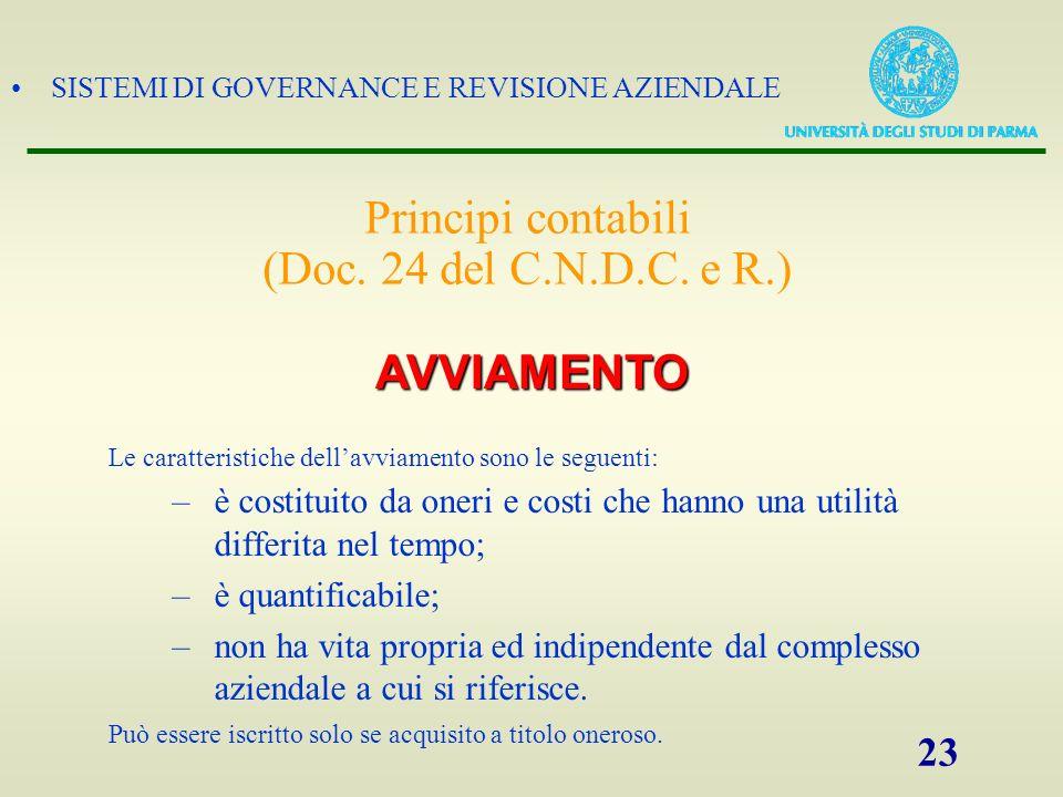 SISTEMI DI GOVERNANCE E REVISIONE AZIENDALE 23 Le caratteristiche dellavviamento sono le seguenti: –è costituito da oneri e costi che hanno una utilit