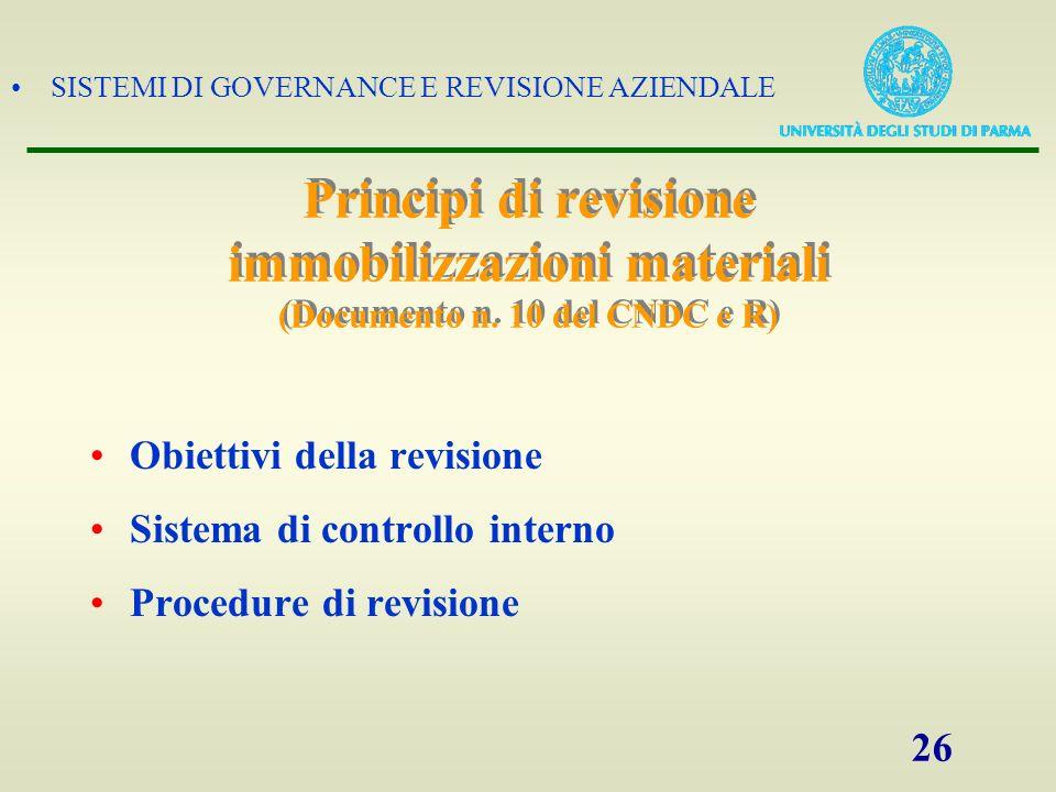 SISTEMI DI GOVERNANCE E REVISIONE AZIENDALE 26 Principi di revisione immobilizzazioni materiali (Documento n. 10 del CNDC e R) Obiettivi della revisio