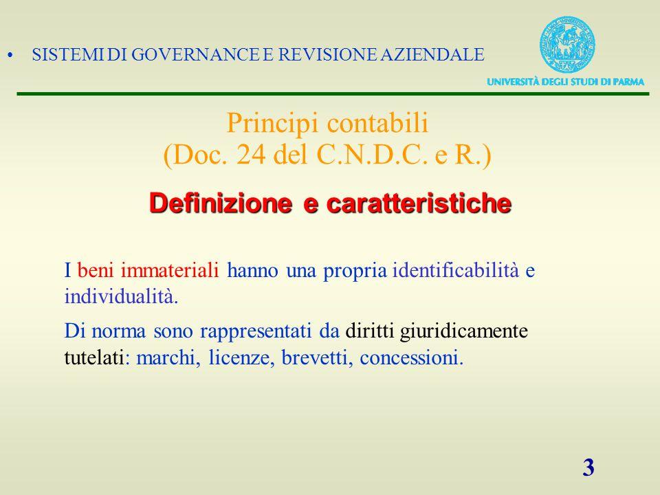 SISTEMI DI GOVERNANCE E REVISIONE AZIENDALE 3 I beni immateriali hanno una propria identificabilità e individualità. Di norma sono rappresentati da di