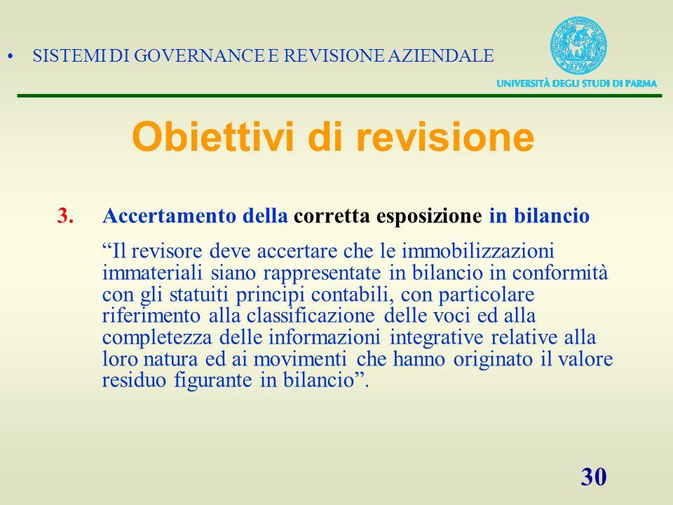 SISTEMI DI GOVERNANCE E REVISIONE AZIENDALE 30 3.Accertamento della corretta esposizione in bilancio Il revisore deve accertare che le immobilizzazion