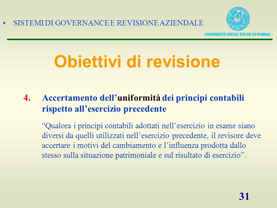 SISTEMI DI GOVERNANCE E REVISIONE AZIENDALE 31 4.Accertamento delluniformità dei principi contabili rispetto allesercizio precedente Qualora i princip