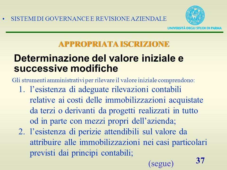 SISTEMI DI GOVERNANCE E REVISIONE AZIENDALE 37 Gli strumenti amministrativi per rilevare il valore iniziale comprendono: 1.lesistenza di adeguate rile
