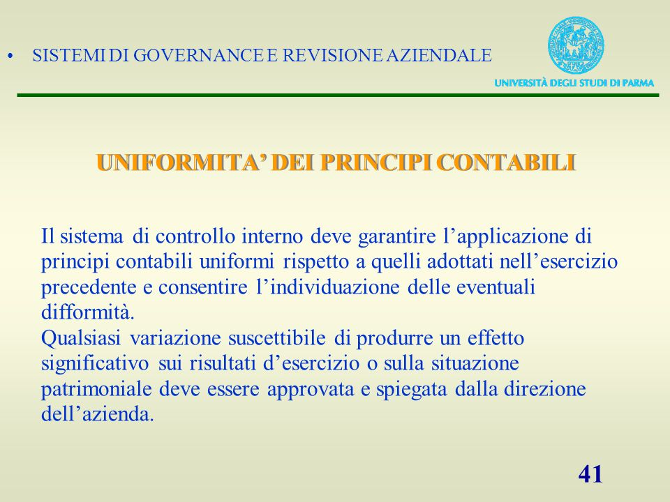 SISTEMI DI GOVERNANCE E REVISIONE AZIENDALE 42 PROCEDURE DI REVISIONE