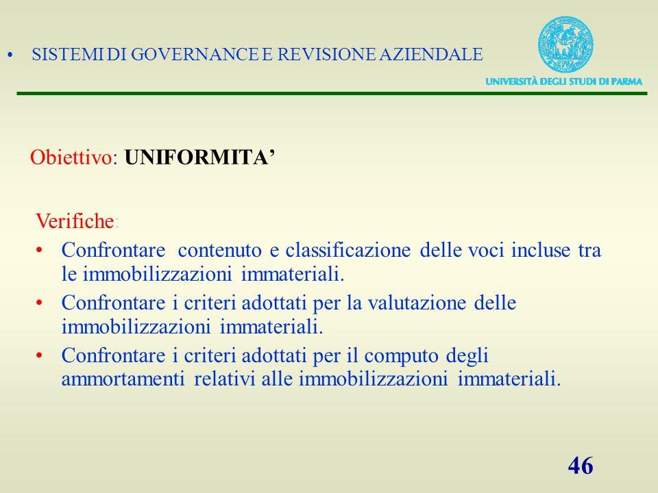 SISTEMI DI GOVERNANCE E REVISIONE AZIENDALE 46 Obiettivo: UNIFORMITA Verifiche: Confrontare contenuto e classificazione delle voci incluse tra le immo