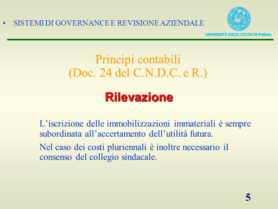SISTEMI DI GOVERNANCE E REVISIONE AZIENDALE 5 Liscrizione delle immobilizzazioni immateriali è sempre subordinata allaccertamento dellutilità futura.