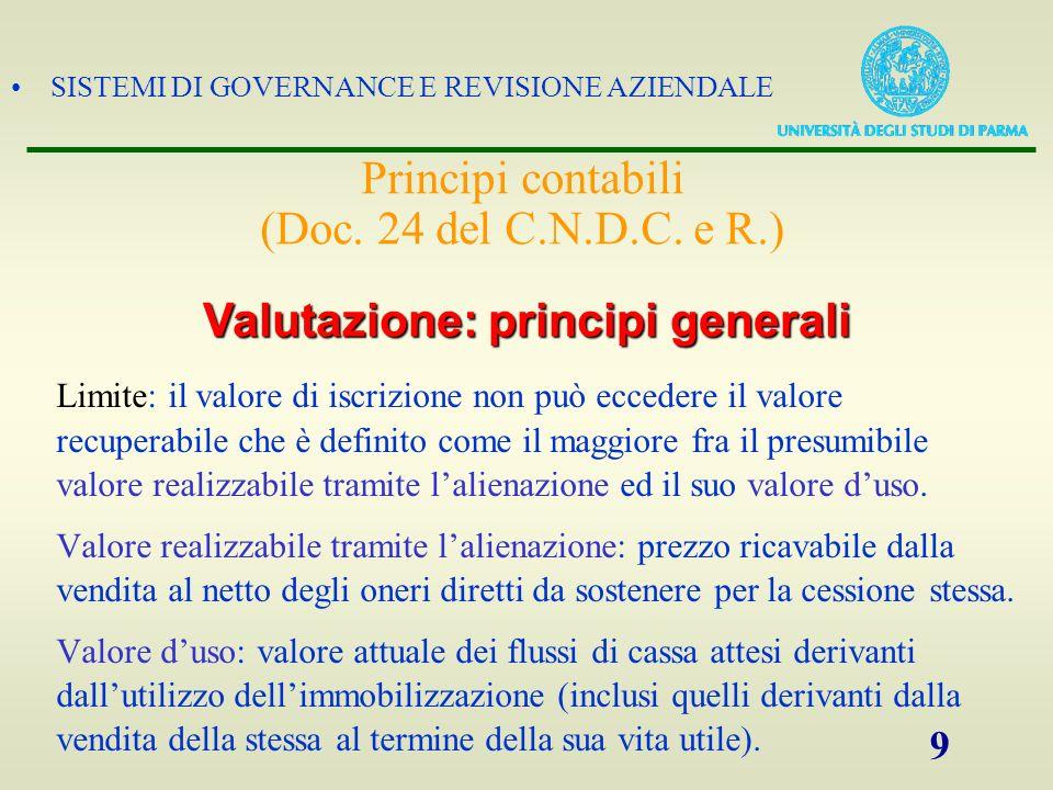 SISTEMI DI GOVERNANCE E REVISIONE AZIENDALE 9 Limite: il valore di iscrizione non può eccedere il valore recuperabile che è definito come il maggiore