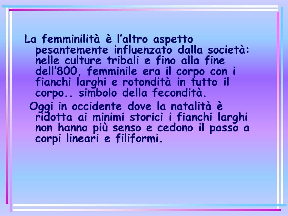 La femminilità è laltro aspetto pesantemente influenzato dalla società: nelle culture tribali e fino alla fine dell800, femminile era il corpo con i fianchi larghi e rotondità in tutto il corpo..